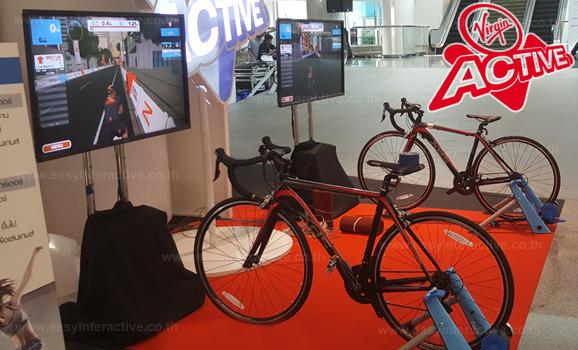 อินเตอร์แอคทีฟจักรยาน-งานGET FIT ตึกเอ็มไพร์ทาวเวอร์ สาธรบูท Virgin Active